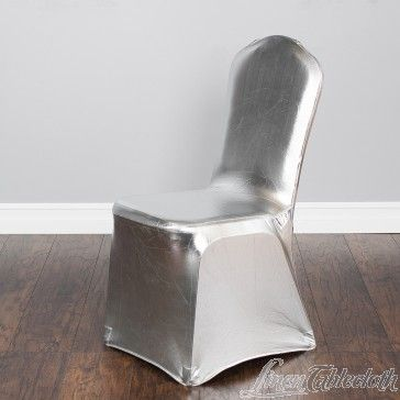 Metallic Silver Banquet Stretch Chair Cover