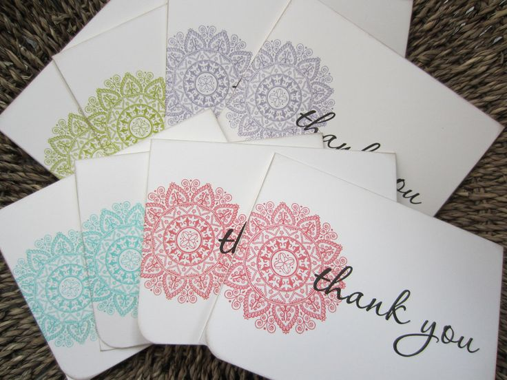 Creative Syzygy - Medallion Thank You Cards (set of 8) A2  - Hand Stamped. $12.99, via Etsy.