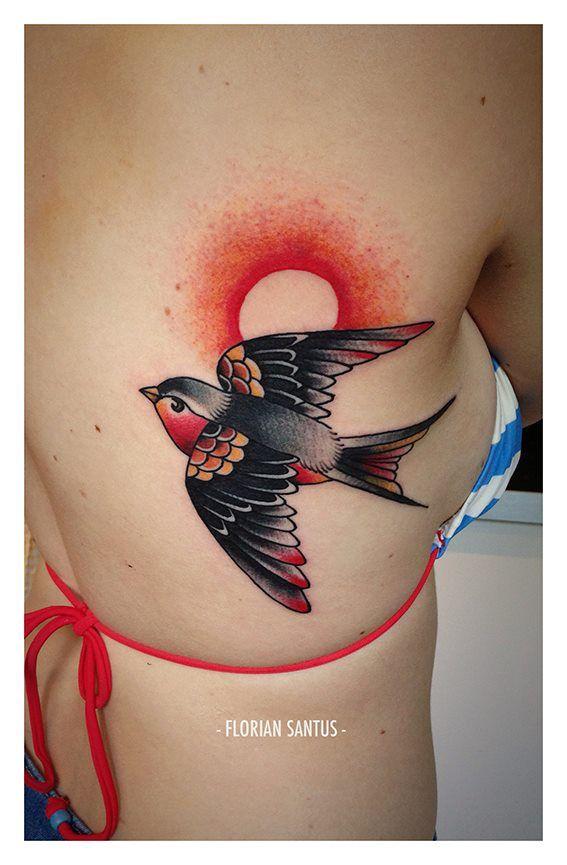 florian santus bird sun traditional tattoo