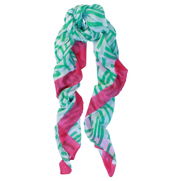 OMG Style Electric Striped Scarf in Mint and Pink