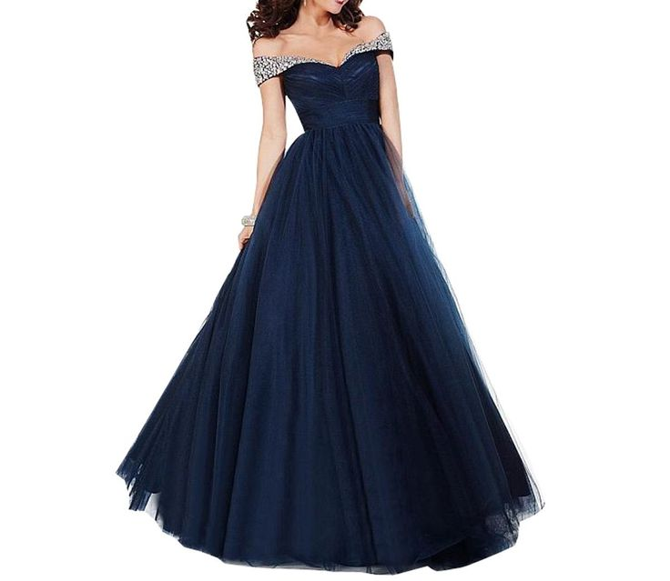NINI.LADY Women's Off Shoulder Zipper Back Long A Line Beading Tulle Prom Gown Navy Blue US8. 1:Fabric:Tulle. 2:Decoration:Beading,Rhinestone. 3:The real color of the item may be different from the pictures shown on website caused by many factors such as brightness of your monitor and light brightness. 4:Custom made process (from the date we receive your payment and measurements) will take about 1-2 weeks.The the delivery time is about 5 days. the total time is about 20 days. 5:If you need…