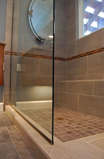 Large Rectangular Tiles Horizontal Orientation Small Trim Pieces Partway Up Bathroom Decor