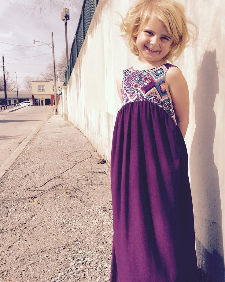 Girls Maxi Dress in purple Aztec boho fabric. Toddler maxi dress on etsy.