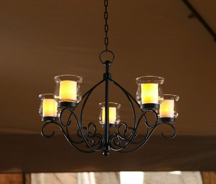Outdoor Hanging Candle Chandelier Gazebo Backyard Patio Votive Light Glass Deck
