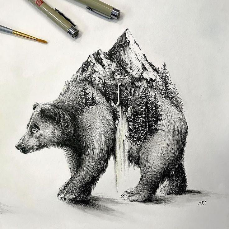 Ein Bär im wahrsten Sinne des Wortes lümmelt auf einer leeren Leinwand in dieser wunderschönen #Natur # …