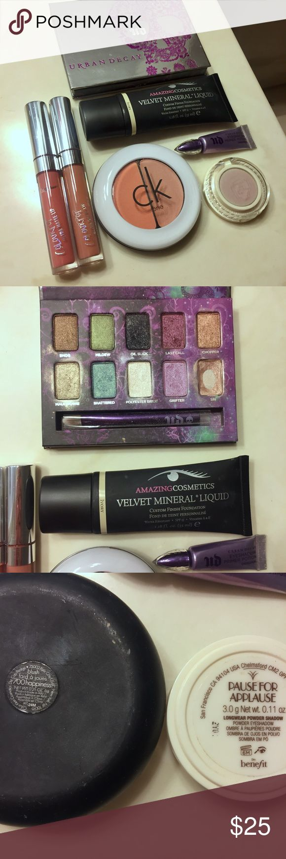 """High-end makeup beauty bundle Open to reasonable offers! ALL have been USED GENTLY but are still full of product. The UD palette is missing the shade """"Sin"""" as pictured. Includes: -Calvin Klein cream/powder blush duo in """"happiness"""" -Benefit eyeshadow single in """"Pause for Applause"""" -Amazing Cosmetics foundation in """"Ivory"""" -Colourpop Ultra Satin Lip in """"Strip"""" -Colourpop Ultra Matte Lip in """"Monday"""" -Urban Decay mini eyeshadow Primer Potion  -Urban Decay eyeshadow palette Colourpop Makeup"""