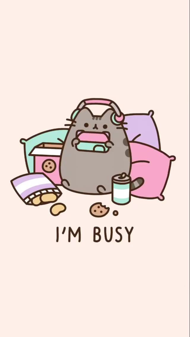 Pusheen Is Vey Busy Phone Wallpaper Background Via Jeal Universo In 2020 Pusheen Cute Funny Phone Wallpaper Cool Wallpapers For Phones
