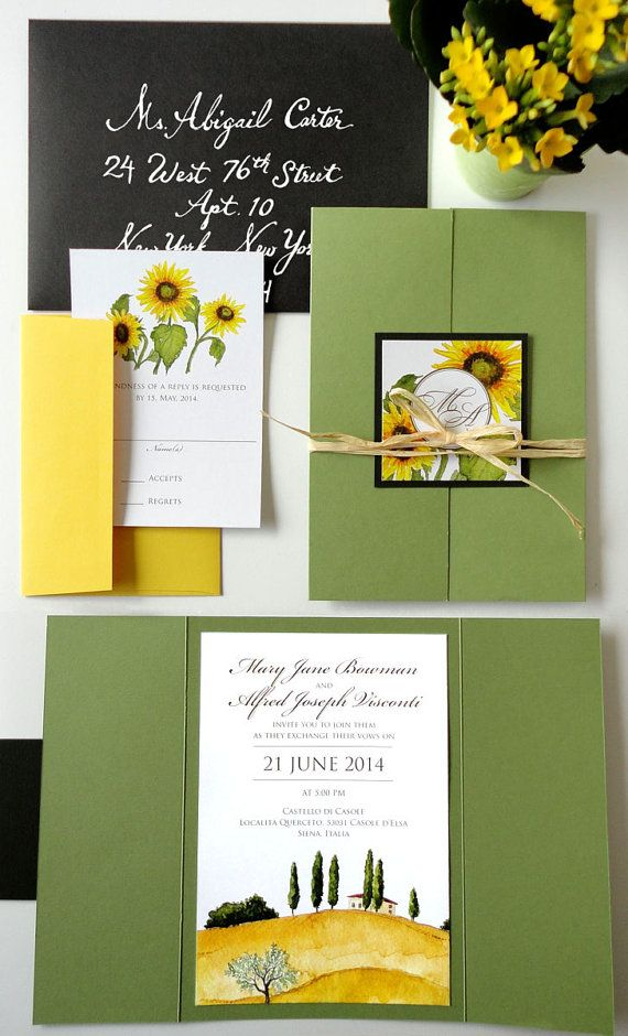 sunflower wedding invitations printable%0A SAMPLE  Tuscan Landscape Wedding Invitation Set