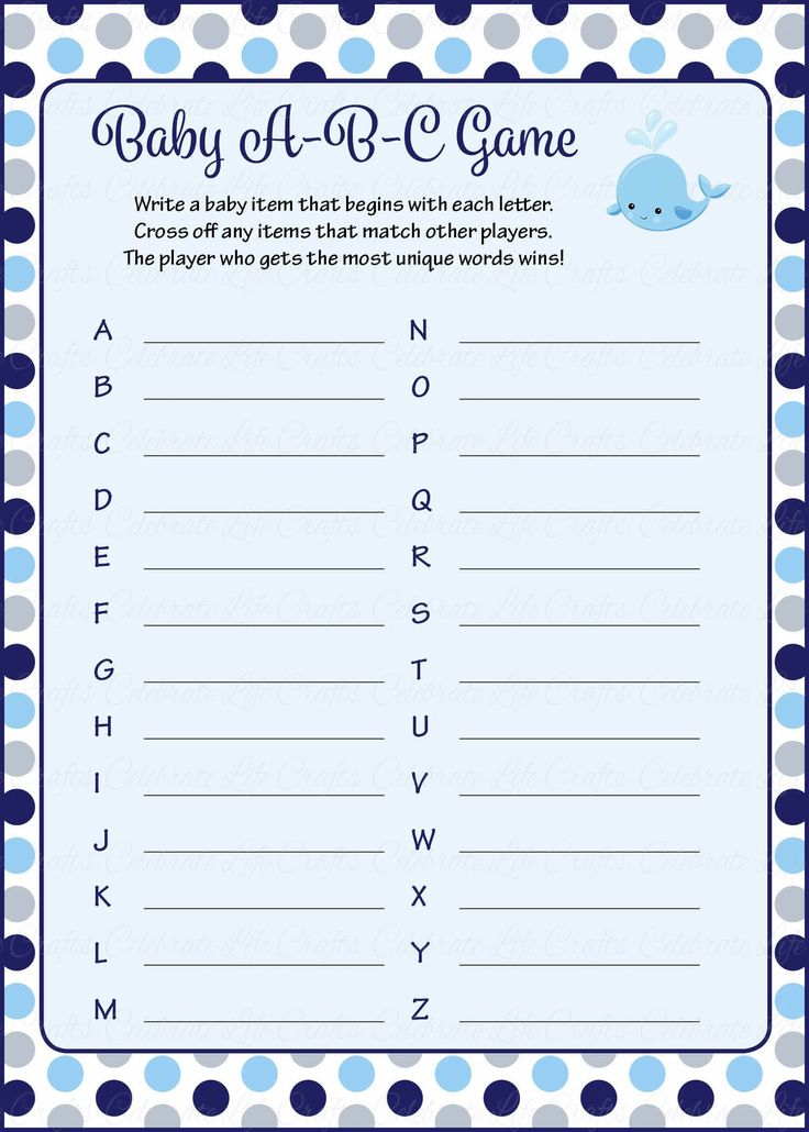 Baby ABC Game - Printable Download - Navy Gray Whale Baby ...