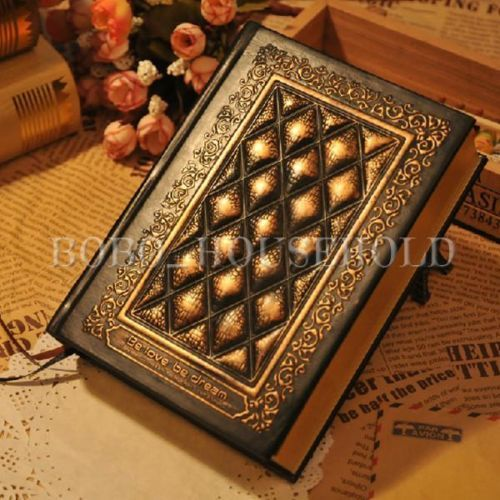 Vintage Classic Retro Plaid Leather Black Golden Framed Notebook Journal Diary