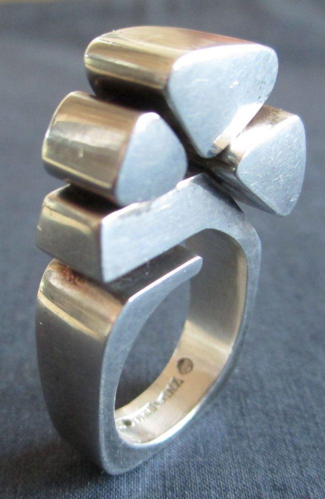 Vintage 60s Mid Century Brutalist Kalevala Koru Sterling Silver CHUNKY Ring Sz 6…