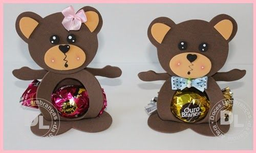 DIY Teddy Bear Bon Bon. Click on link for youtube tutorial and free template. http://www.doceslembrancas.net/search/label/EVA
