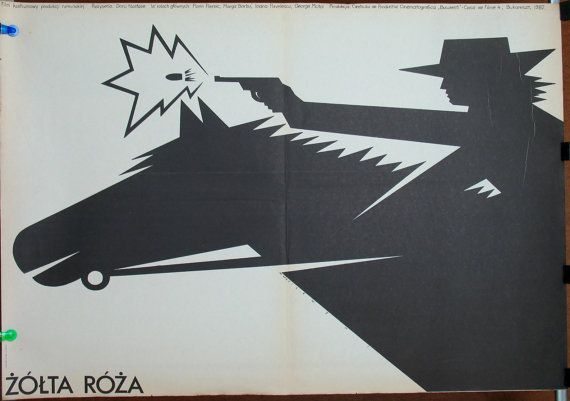 Romanian film by Doru Nastase - The Yellow Rose 1982. Polish poster by Wasilewski 1983. Action/history/unique poster/rare poster/wall art
