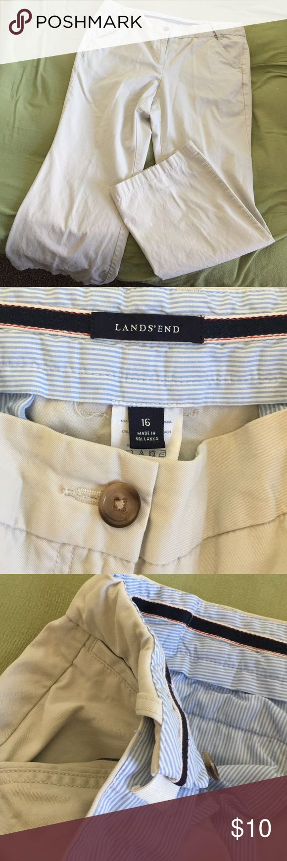 Lands' End stretch fit waist, 💯% cotton pants Cool, comfy, casual business khaki pants. Inner elastic on both sides allows for expansion/dessert with your meal😉 2 pocket + coin/key pocket in front, 2 pocket buttoned backside, slightly used look, cuffs in good condition. Lands' End Pants Wide Leg