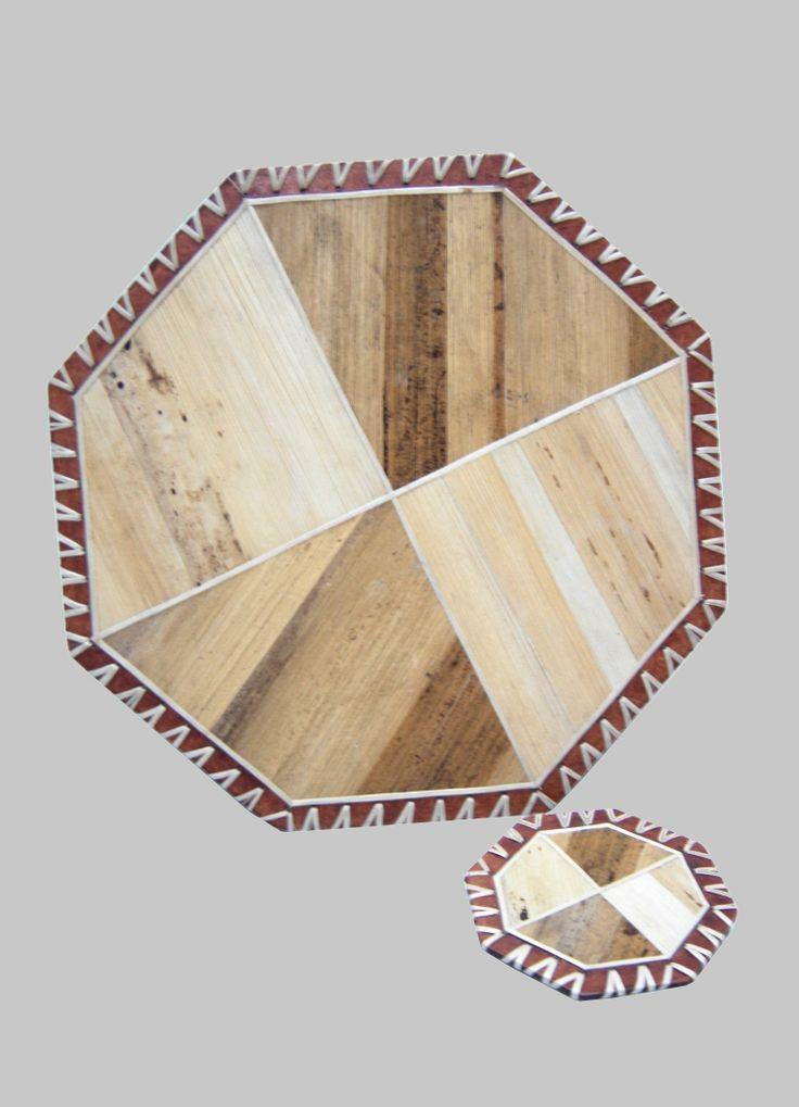 Centro de mesa y portavaso pieza exclusiva en fibra vegetal de  calceta de plátano en técnica de laminado sobre madera (rigidos)
