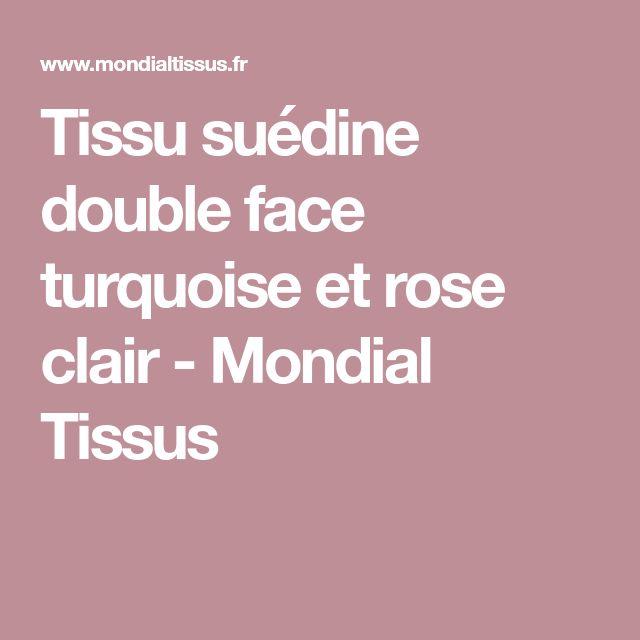 Tissu suédine double face turquoise et rose clair - Mondial Tissus