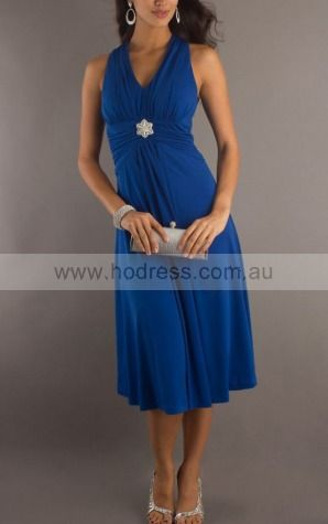 A-line V-neck Tea-length Chiffon Empire Formal Dresses gt3443