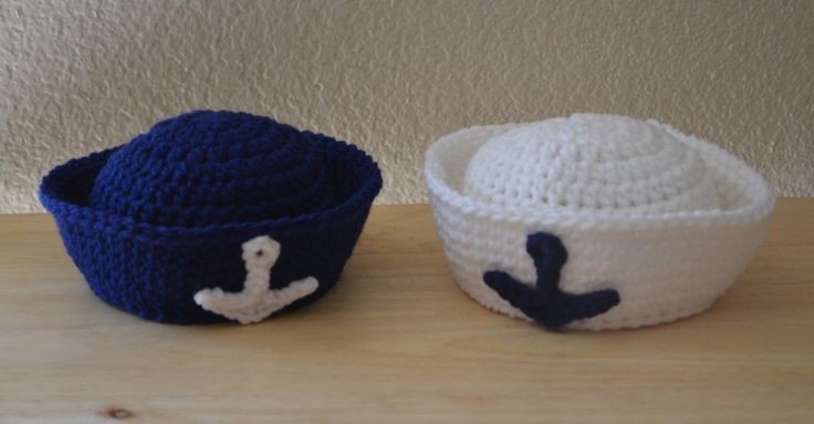 Free Crochet Pattern For Sailor Hat : Newborn Crochet Sailor Hat Girl or Boy Photo by ...