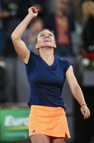 Simona Halep Photos Photos - Simona Halep of Romania elebrates defeating Kristina Mladenovic of France in the final during day eight of the Mutua Madrid Open tennis at La Caja Magica on May 13, 2017 in Madrid, Spain. - Mutua Madrid Open - Day Eight
