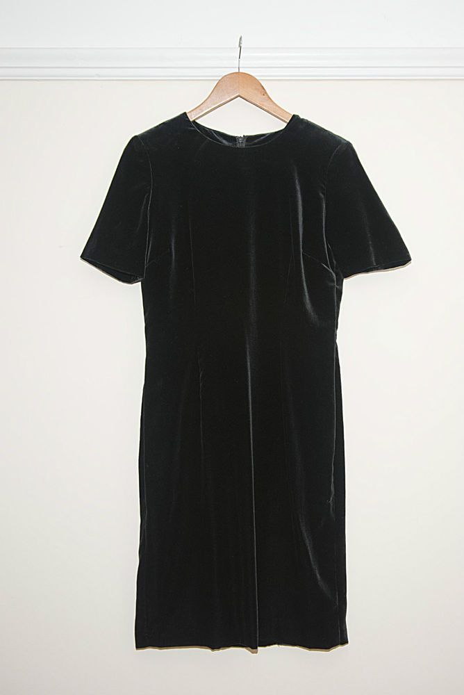 Vintage Jaeger Evening/ Cocktail Black Velvet Dress UK 10 - Designer - Stunning