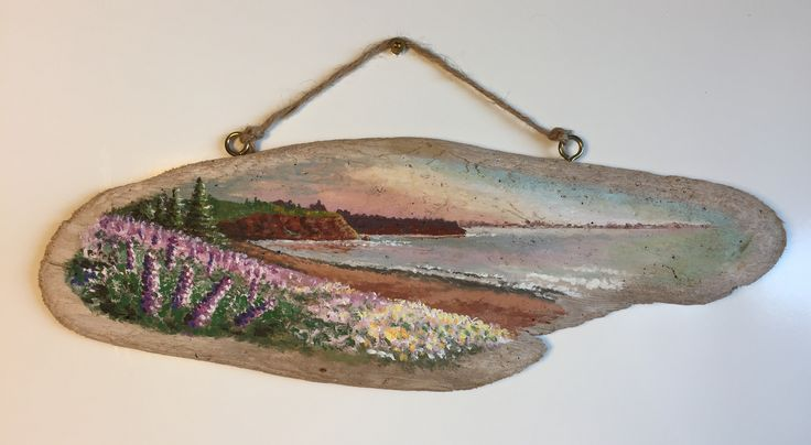 Painted on driftwood collected by my mother-in-law from the shores of Stanhope Beach. Recently sold to an Islander through my Etsy shop.