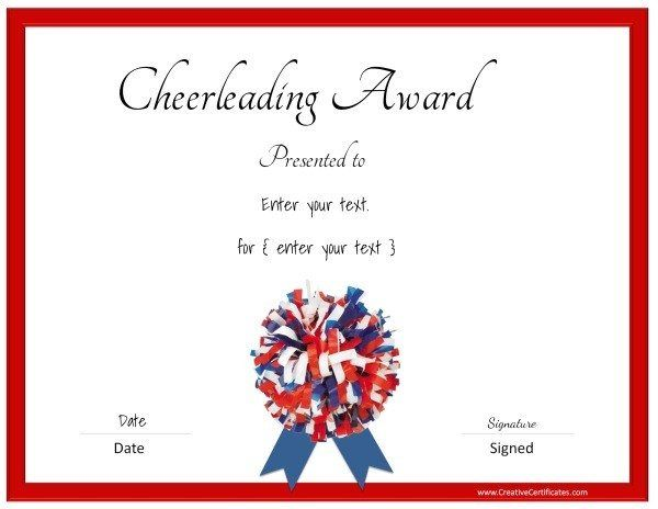 graphic about Cheerleading Templates Printable named Cheerleading certification within just pink, blue and white cheer
