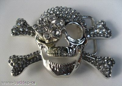 RHINESTONE SKULLS CROSSBONES SKELETON COOL BELT BUCKLES