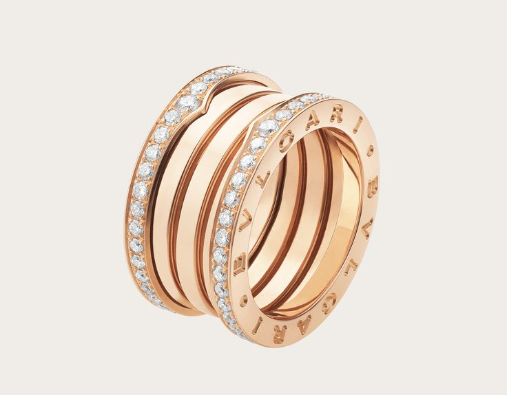 bzero1 4band 18k rose gold ring with pave diamonds