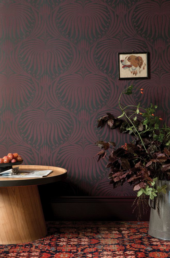 Farrow & Ball's Lotus wallpaper in black and red