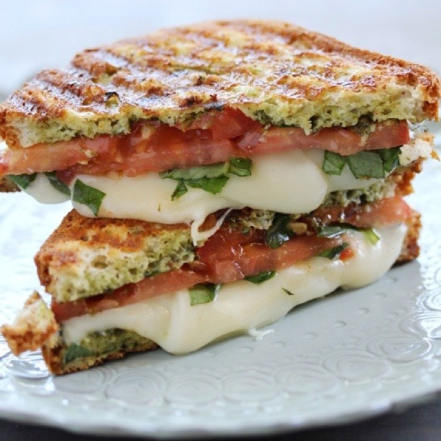 Caprese (mozzarella, tomato, and basil) panini/With Style and Grace