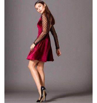 d38c6ca0ce90 Βελούδινο Κοντό Κλος Φόρεμα με Τούλι Πουά Ντεκολτέ - Βουργουνδί ...