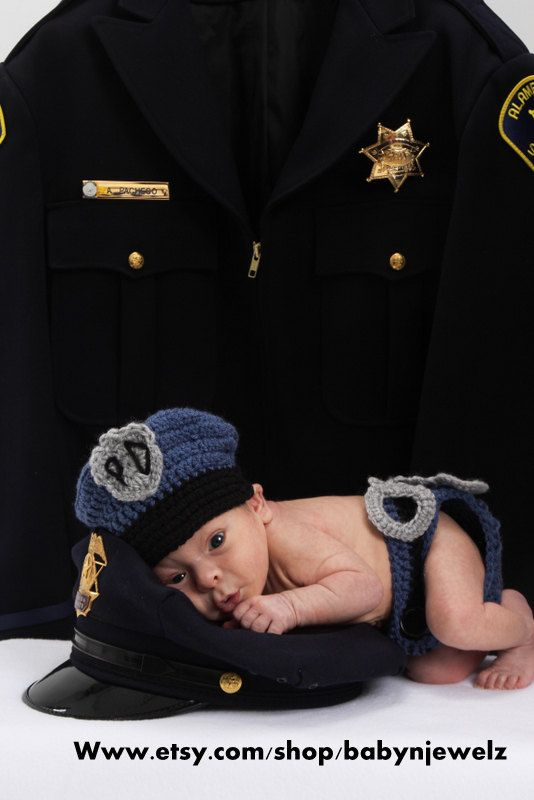 Newborn Baby Police Outfit Hat and diaper cover by babynjewelz