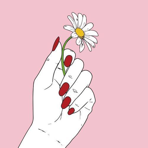 Imagen de flowers, pink, and hand