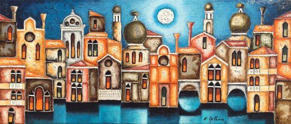 Elio De Pasco dipinto rappresentazione di Venezia - fluidofiume galleria d'arte Trieste