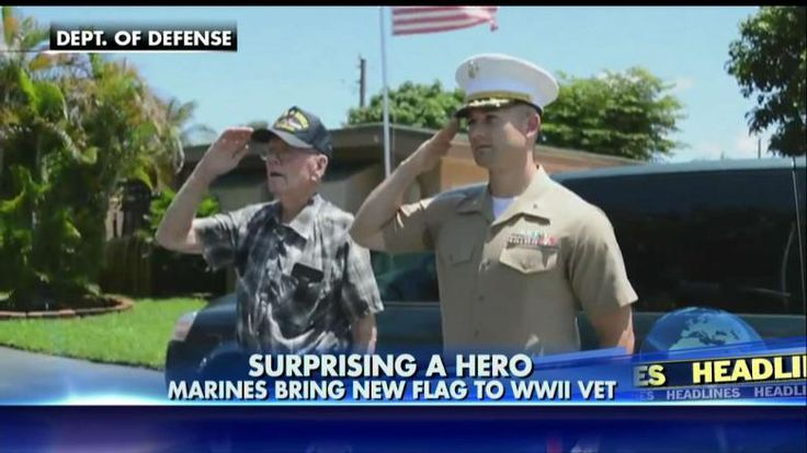 A group of Marines surprised a World War II veteran with a brand new American flag for him to fly outside his home, Fox & Friends reported.