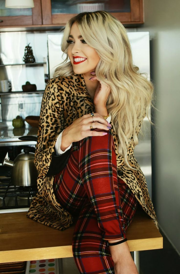 animal print and plaid outfit