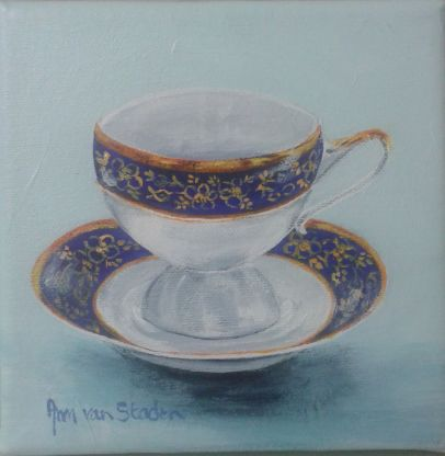 acrylic - tea cup with blue band