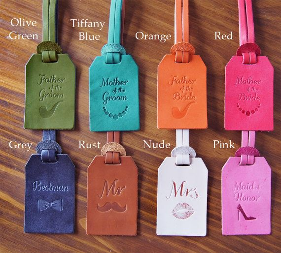 8 Wedding Favors Luggage Tags Bundle Personalized by HarLex