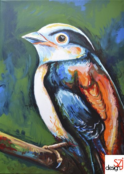 szjdesign: paintings, acrylic, canvas, art, Birdie
