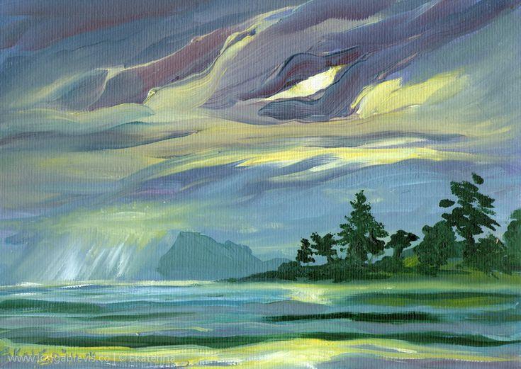 Impressionist Painting of Coromandel - Skyscape Art, Small Oil Painting - Sunrise