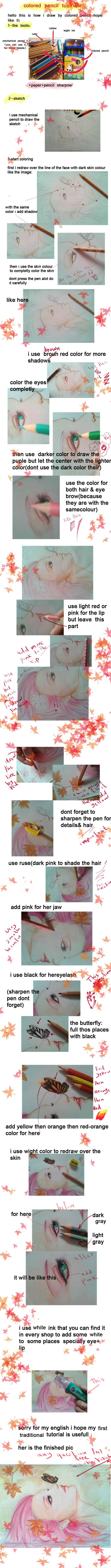 colored pencil tutorial by hisokakakashi.deviantart.com (broken English aside, very nice tutorial!)