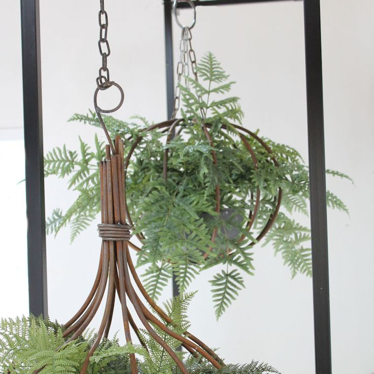 Hanging Displays in Metal Handmade Baskets can