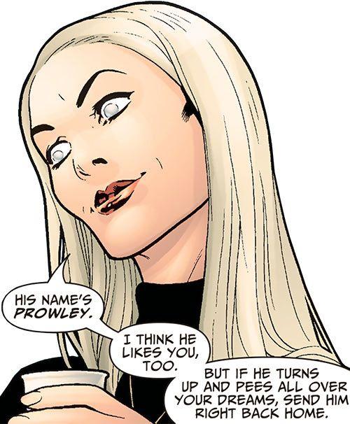 Cassandra Craft (DC Comics) face closeup, smiling. From http://www.writeups.org/cassandra-craft-dc-comics-7-soldiers-phantom-stranger/