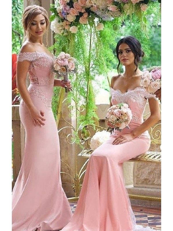 OFF THE SHOULDER LACE APPLIQUES BODICE MERMAID BUTTONS ZIPPER BACK SWEEP TRAIN BRIDESMAID DRESS