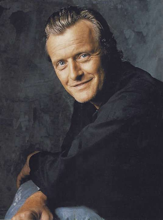 Rutger Hauer Blonde, blue-eyed, tall and handsome Dutch actor Rutger Hauer has an international reputation for playing everything from romantic leads to action heroes to sinister villains.