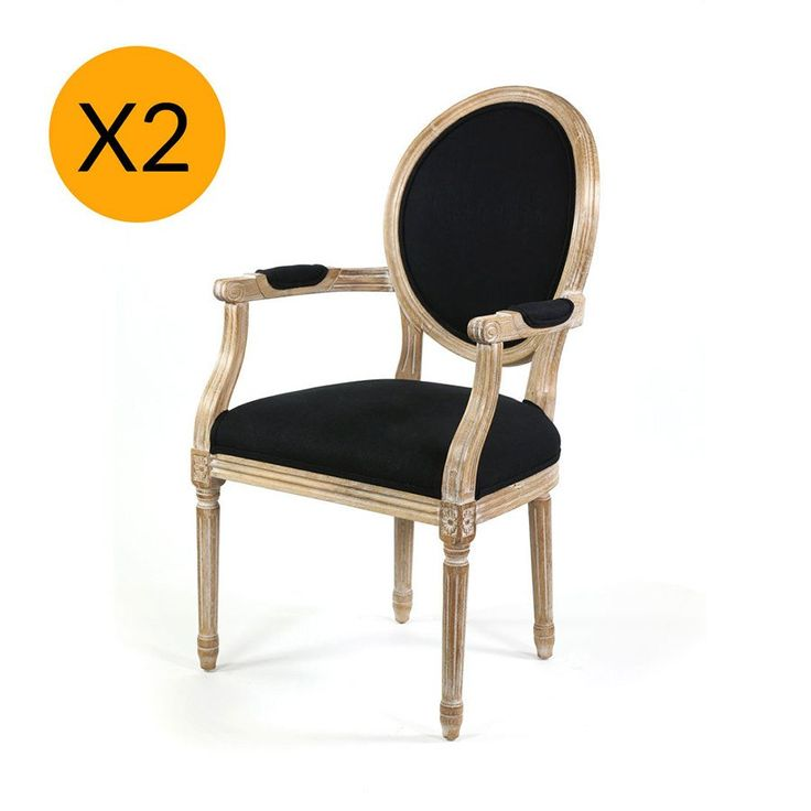 X2 French Provincial Round Dining Arm Chair Black - Black Mango