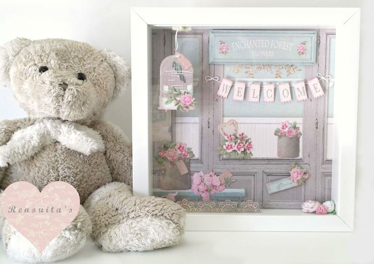 nursery decor, shadow box, wall frame, wall art