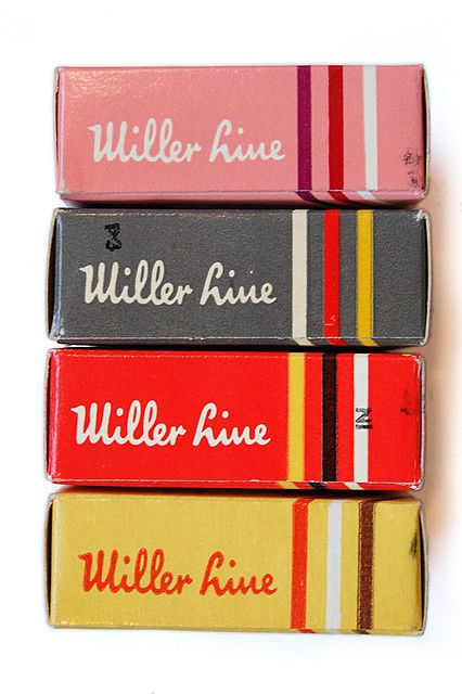 vintage Miller Line Typewriter Ribbon Boxes  #vintage #typography: Vintage Miller, Typewriters Ribbons, Colors Combos, Packaging Design, Vintage Packaging, Vintage Typewriters, Graphics Design, Colors Schemes, Ribbons Boxes
