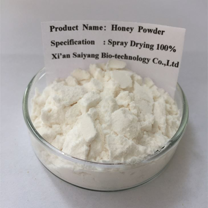 Honey Powder  [Product  Part]: Juice    [Specification]:100%    [Active Ingredient]:Protein etc.    [Appearance]:White Powder    [Clinical Application]:Food , Beverage.    [Solubility]:100%    [Dosage form]:Granule , tablet , capsule