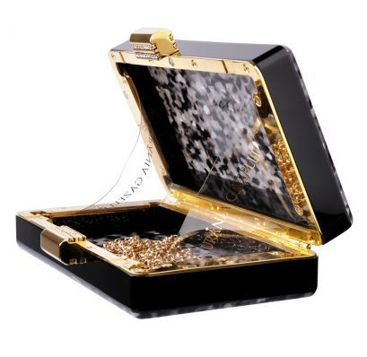 Urania Gazelli Black and Silver Glitter Clutch - Acrylic Clutch. Colour- Black-Shell/Silver. Swarovsky crystals, gold clasp